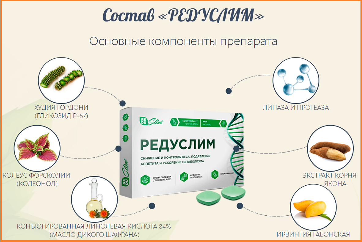 Состав Редуслима - компоненты